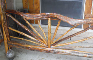 hand carved wood rail